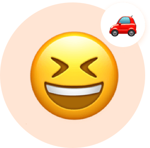 Smiley face laughing and thinking about car.