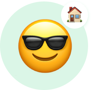 Smiley face with sunglasses thinking about home.